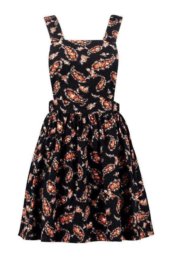 Sophia Floral Printed Cord Pinafore Dress at boohoo.com: