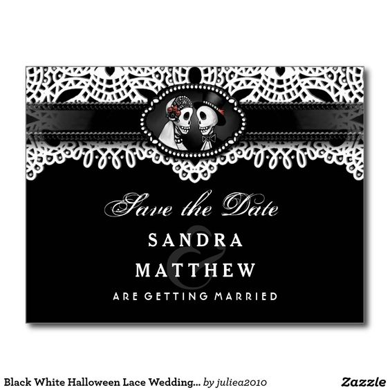 Visit: http://jagifts.us/SaveDateWeddingSkeletonsElegantPostCard1 - Black & White Halloween Lace Wedding Skeletons Save the Date Postcard by Julie Alvarez Designs. Easily customize and order direct thru Zazzle, matching items are available. #halloweenwedding #skeletons #eleganthalloweenwedding