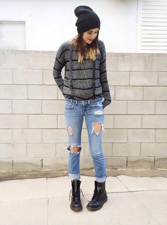 Love this, dr martens, ripped jeans, baggy jumper <3 | Style