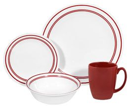 Corelle Livingware™ Classic Café® Red 16-pc Set - the dishes are made in USA not sure about the mug since its stoneware