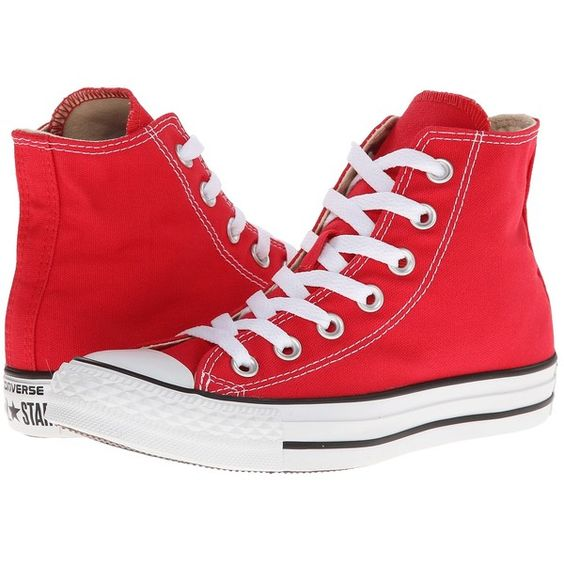 Converse Chuck Taylor All Star Core Hi Classic Shoes ($55) ❤ liked on Polyvore featuring shoes, sneakers, converse, red, sapatos, red hi top sneakers, converse shoes, red shoes, converse sneakers and canvas shoes