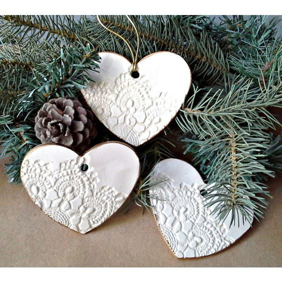 Three Ceramic Ornaments Edged in Gold Wedding Favors Shower Favors ($35) via Polyvore featuring home, home decor, grey, handmade home decor, antique home decor, gold home accessories, grey home decor and gray home decor