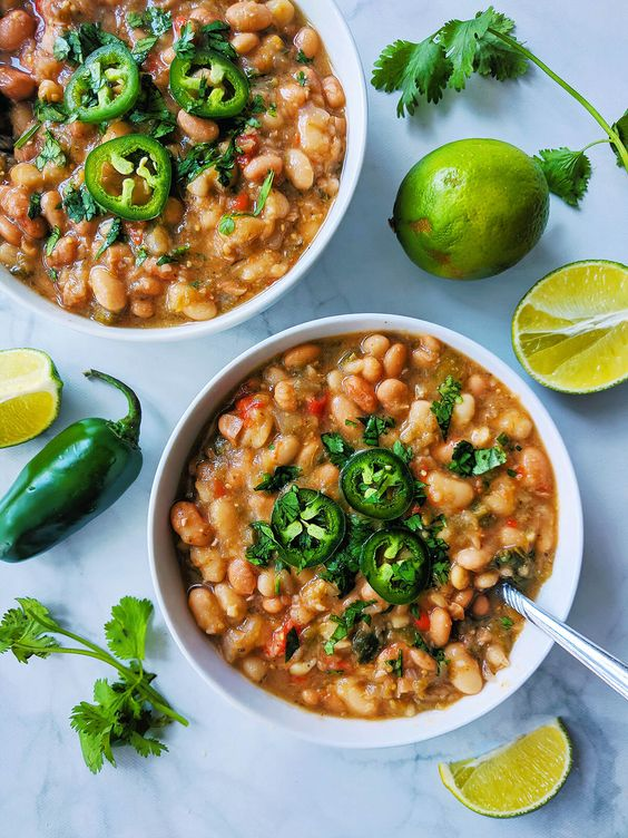 White & pinto bean tomatillo soup | by spartanlifeblog.com