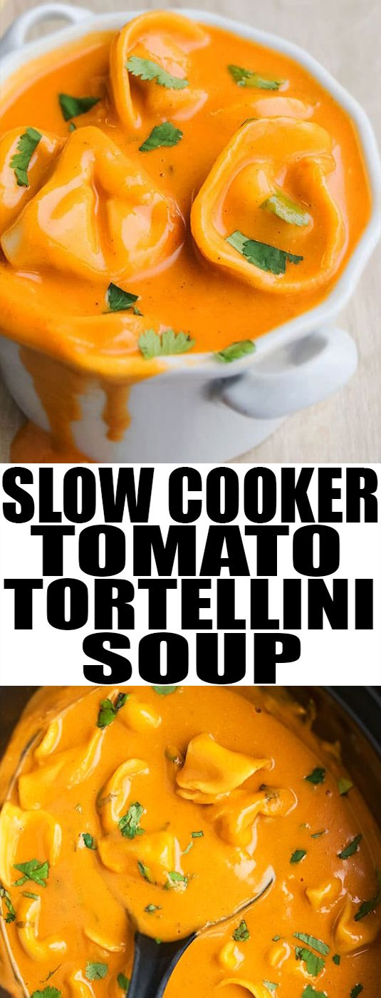 Easy creamy slow cooker TOMATO TORTELLINI SOUP recipe, requiring basic ingredients. This easy weeknight dinner is packed with herbs, spices, cheese, pasta. From cakewhiz.com