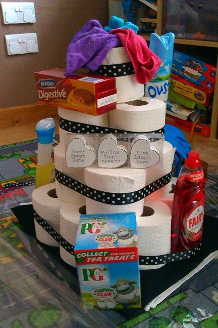 new home gift toilet roll cake with home accessories