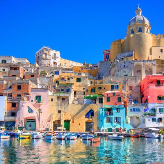 Procida is among the Flegrean Islands from the coast of Naples in southern Italia