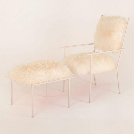Fur chair and ottoman