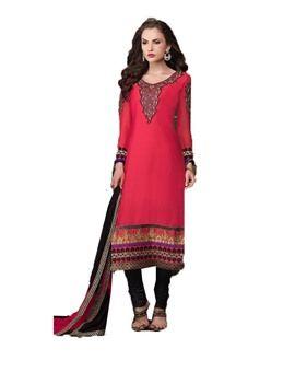Red Cotton Embroidered Designer Salwar Suit