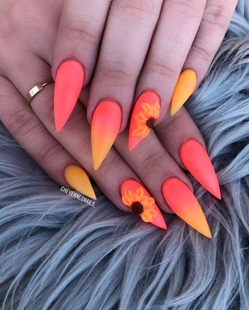 Amazing Orange And Yellow Ombre Nails With An Accent Sunflower