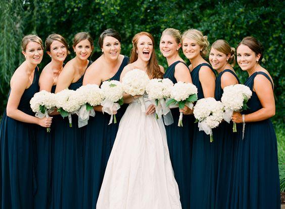 gorgeous navy bridesmaid dresses | Justin DeMutiis #wedding