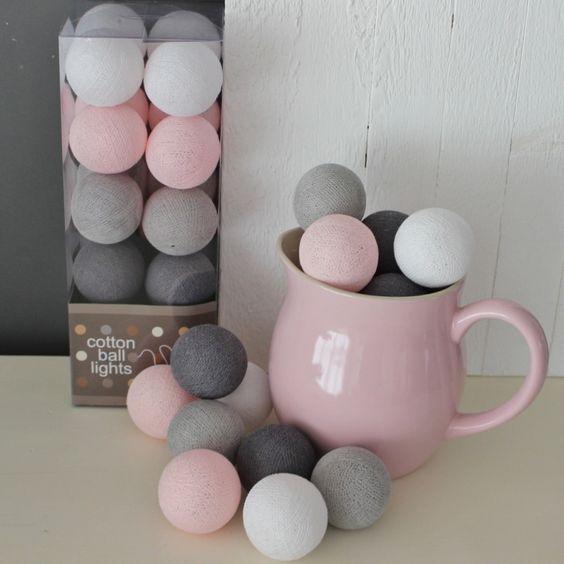 Cotton Ball Lights Pastel Roze/Grijs