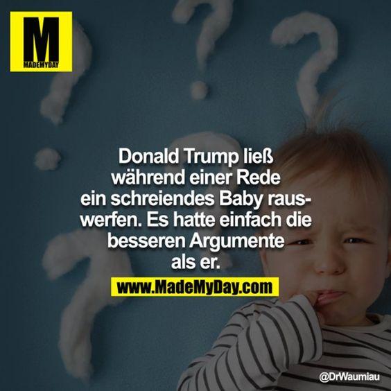 donald trump ließ während einer rede ein schreiendes baby