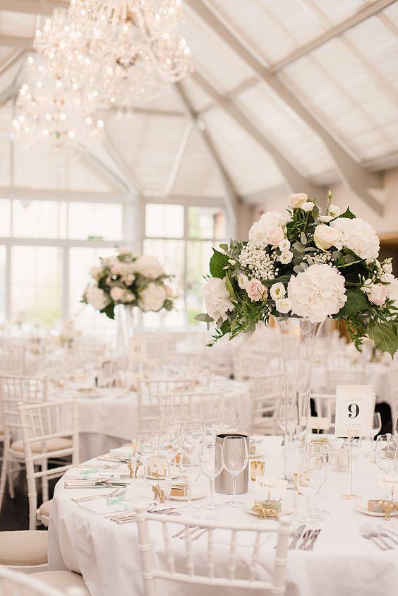 Atrium Wedding Reception | Classic Wedding at Botleys Mansion Surrey | Mint & Gold Colour Scheme | Tall Wedding Flower Centrepieces | Faye Cornhill Photography | http://www.rockmywedding.co.uk/alice-gareth/