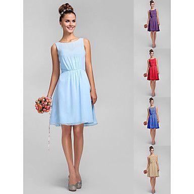 Retrouvailles+robe+mi-longue+en+mousseline+de+demoiselle+d'honneur+-+Sky+Plus+bleu+taille+un-ligne+/+Princesse+bateau+–+EUR+€+68.59
