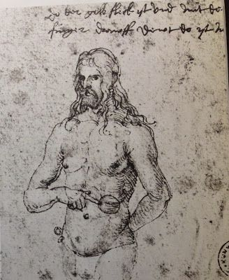 "Albrecht Durer (1471-1528) Self-Portrait meant for a long-distance consultation with his Doctor The text reads: ""there, on the yellow spot, where my finger is pointing, is where my pain is."" (now in the Kunsthalle, Bremen, Germany)"