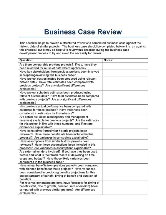 Business case review template, from a perspective of historically - business case template word