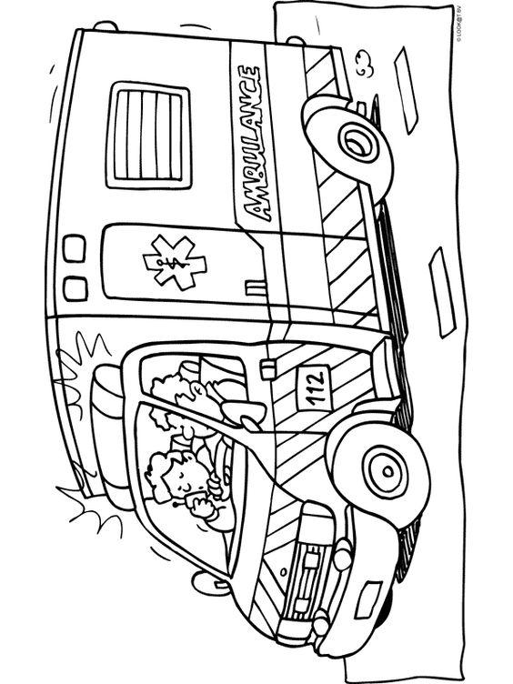 kleurplaat ambulance kleurplaten nl ziek en gezond
