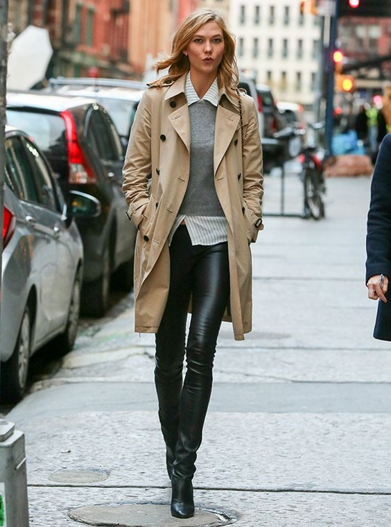 Leather leggings, button down, cashmere sweater, trench