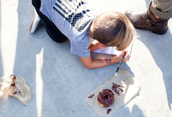 little artist & his doughnut,  at Sidecar Doughnuts Tasting Project, Costa Mesa, CA www.sidecardoughnuts.com  Photo, Chi-Lin Pendergrast