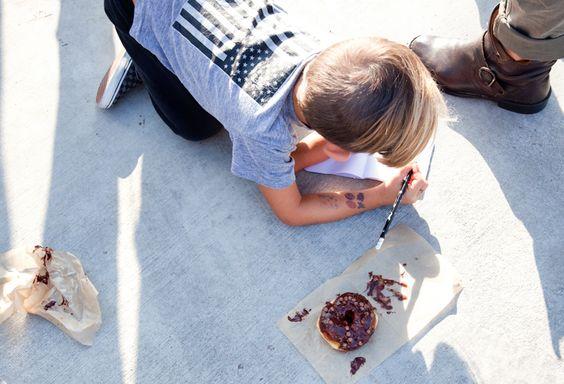 little artist & his doughnut,  at Sidecar Doughnuts Tasting Project, Costa Mesa, CA www.sidecardoughnuts.com  Photo, Chi-Lin Pendergrast