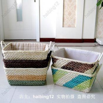 Handgemaakte stro opslag mand cesta mimbre kleding organizer diversen mand rustieke rieten wasmand gratis verzending