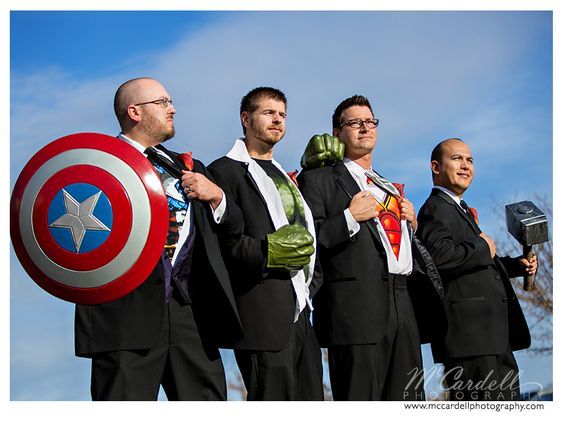 The Groom and his Avengers, I mean Groomsmen. #superherowedding @Proximity Hotel Weddings
