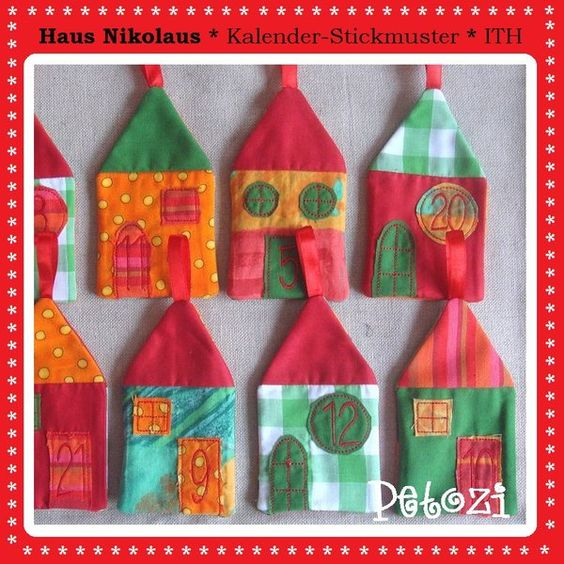 Stickmuster - Haus Nikolaus * Adventskalender * STICKDATEI * ITH - ein Designerstück von petozi bei DaWanda