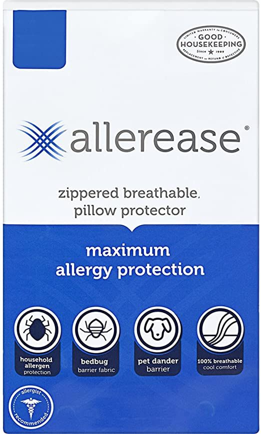 Allerease Maximum Allergy Protection Pillow Protectors Hypoallergenic Zippered Allergist Recommended Pillow Protectors Allergy Protection Zippered Pillows