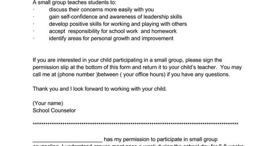 Image Result For School Counseling Group Permission Slip Staff