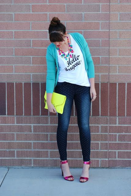 the red closet diary blog: wearing bright colors in the winter. Hello Gorgeous tee. Fall layering.