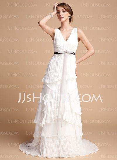 Corte A/Princesa Escote en V Cola barrida Gasa Vestido de novia con Volantes Encaje Fajas Bordado (002012069)