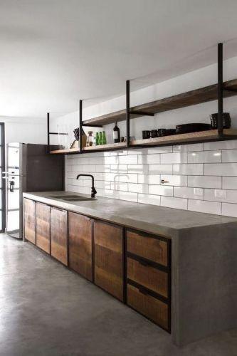 キッチン 床 インテリア インダストリアル モルタル コーディネート例