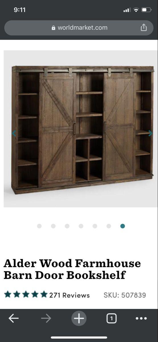 35+ Alder wood farmhouse barn door bookshelf best