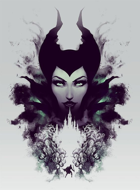 Maleficent Art Print Disney Painting Sleeping by jefflangevin