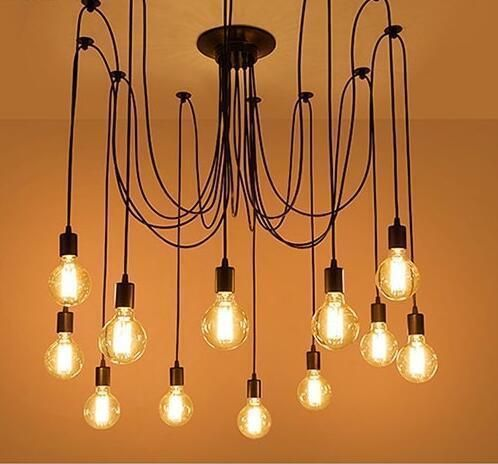 Vintage Industrial Hanging Chandelier Lighting Edison Light Bulb Lamp E27 Spider Ceiling Pendant Bulbs 8 Heads for Dining Room Coffee Shop Theme