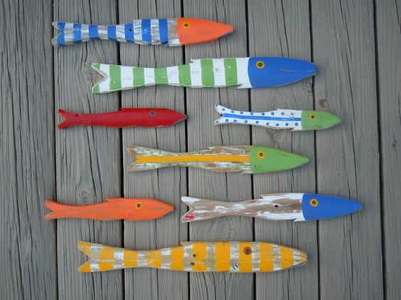 School of 8 hand painted picket fish art reclaimed wood for Beach cabin decor