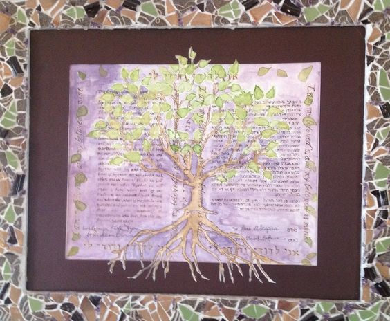 A customized ketubah (wedding contract) with mosaic frame - wedding contract