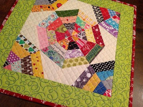 Modern scrappy bits swap -scraps and mini quilt..