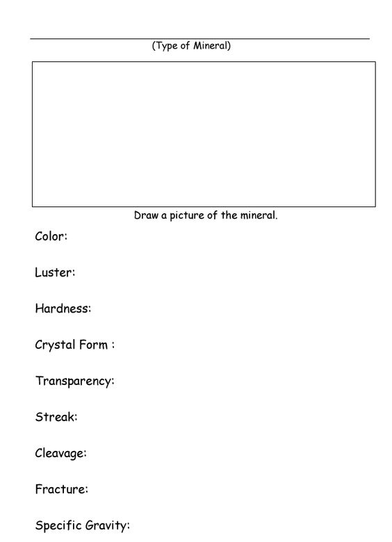 Homeschool Helper Online's Free Identify a Mineral Worksheet ...