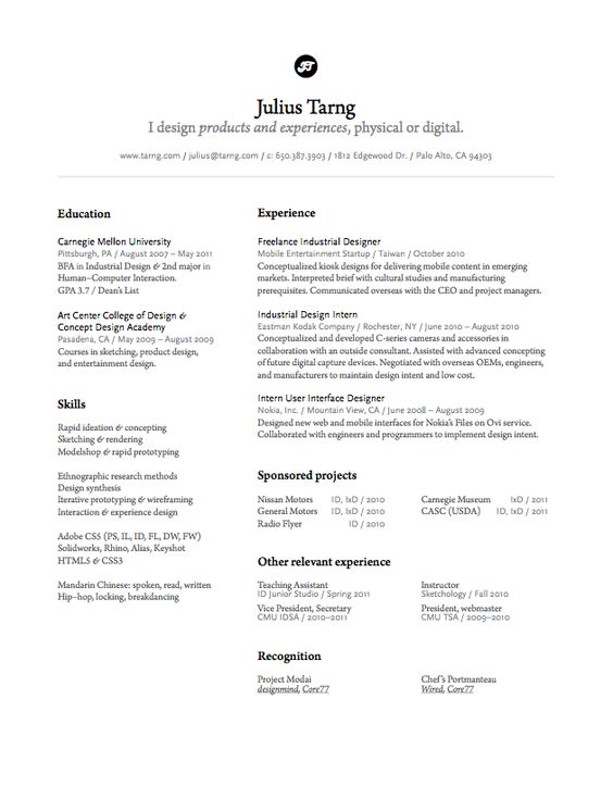Julius Tarng, Industrial\/interaction Designer Resume Pinterest   User  Interface Designer Resume  User Experience Designer Resume