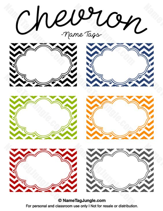 Free printable chevron name tags. The template can also be used ...