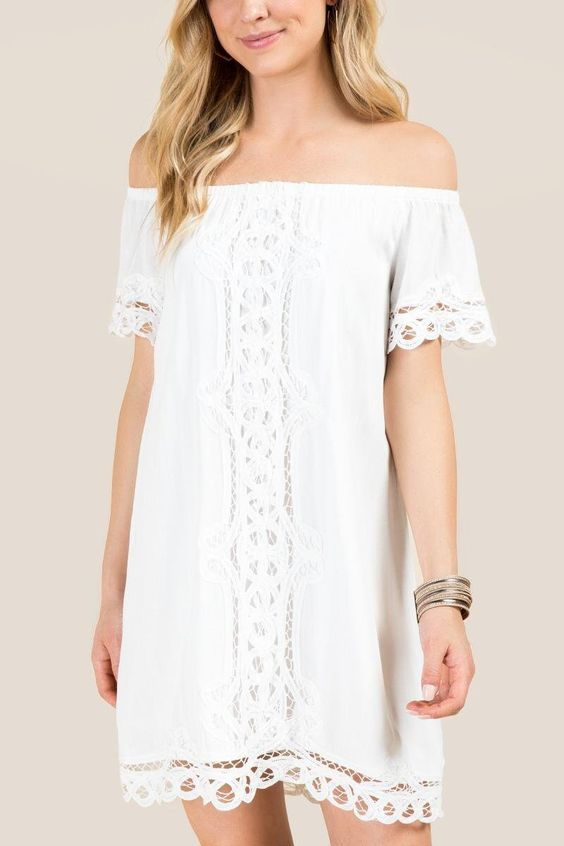 Blair Off The Shoulder Crochet Shift Dress
