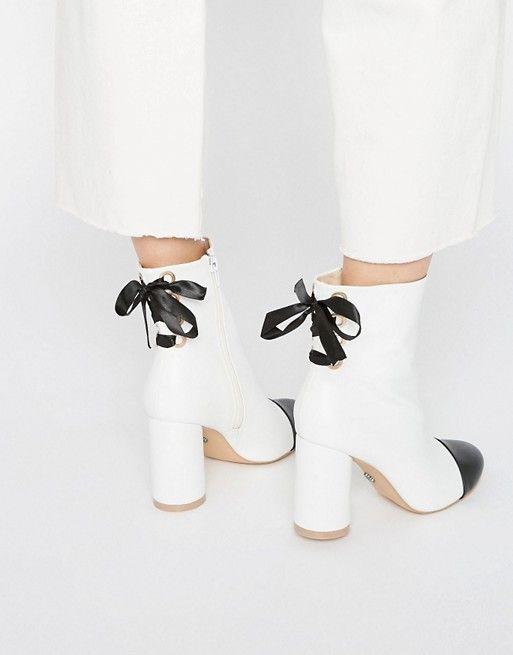 Daisy Street | Daisy Street Toecap Tie Back Heeled Ankle Boots: