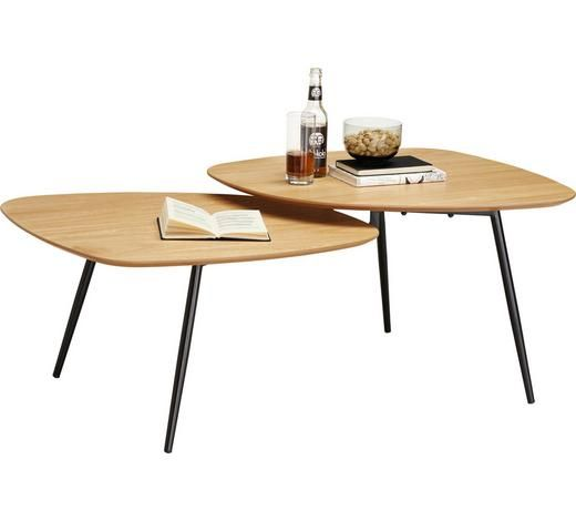 Beistelltisch Set Aus Holz Mit Schwarzen Fussen Couchtisch Tisch