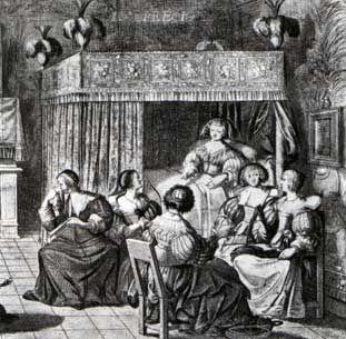 """Une Ruelle à  l'Hôtel de rambouillet, gravure d'Abraham Boose, un salon au XVII°s. - 6) Ce monde jeune et gai qu'est l'hôtel de Rambouillet, où les bals et les plaisirs se succèdent, les intrigues amoureuses se nouent et se dénouent, ne fut pas une société de pédants même si les divertissements y prennent volontiers un tour intellectuel. La """"préciosité"""" naît dans ce salon et gagne l'esprit des jeunes femmes de l'aristocratie qui le fréquentent."""