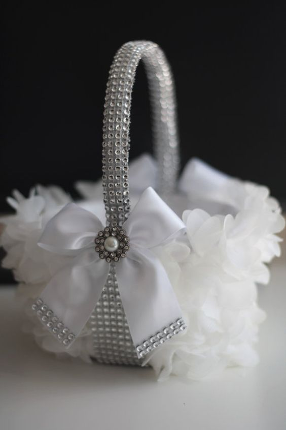 White Wedding Flower Girl Basket with White bow by AlexEmotions