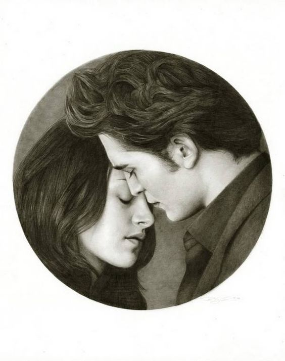 Bella And Edward Cullen Pencil Drawing By Randy Atwood