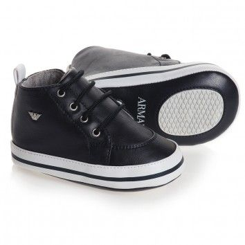 Armani Junior Baby Boys Navy Blue Pre-Walker Trainers at Childrensalon.com