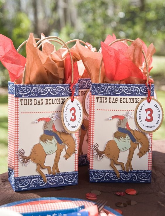 cowboy birthday party favor bag-Regular bag, paste bucking horse print out on.