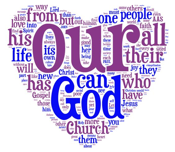 "Made a word cloud using text from APOSTOLIC EXHORTATION  - EVANGELII GAUDIUM.  Took out only the most common words like"" and"", ""the"", etc.  Loved how the other common words I left placed themselves....."